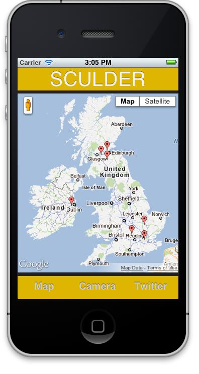 Tutorial zu mobiler Sculder-App mit Twitter-Feed und Google-Larten