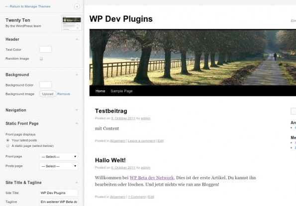 wordpress 34 theme customize