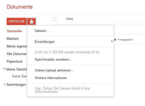 Google Drive bietet 5 GB kostenlosen Online-Speicher.
