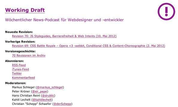 """Der Podcast """"Working Draft"""" hat eine sehr schlichte Website"""