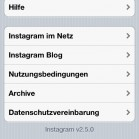 Instagram iOS about