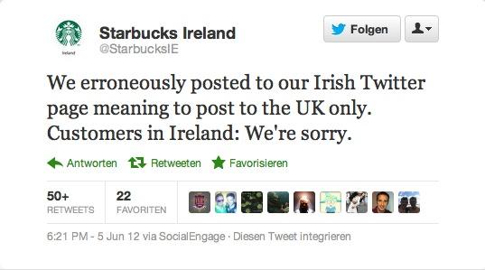 Die offizielle Entschuldigung für den peinlichen Fehler - die Twitter-Follower hatten zum Teil andere Ideen für eine Entschuldigung (vgl. Tweets unten).