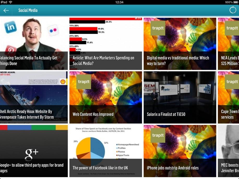 """Der News-Aggregator Trapit hat auf dem iPad eine schicke Oberfläche, auch wenn einige Bilder auf dem Retina Display etwas verschwommen wirken und es beim vertikalen Blättern zwischen den """"Traps"""" gelegentlich etwas hakt."""