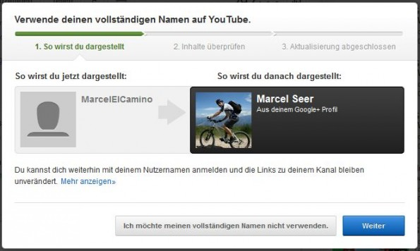 google youtube klarnamen
