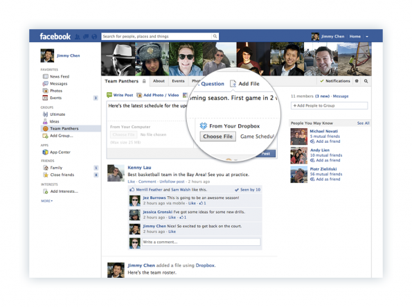 Dropbox Integration Facebook Gruppen