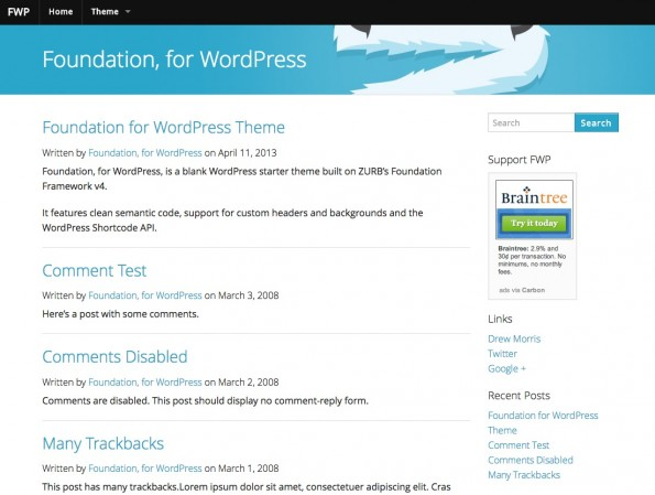 Responsive WordPress-Theme: Foundation.