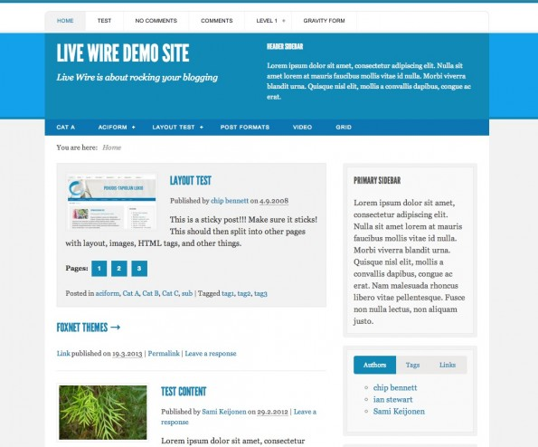 Responsive WordPress-Theme: Live Wire.