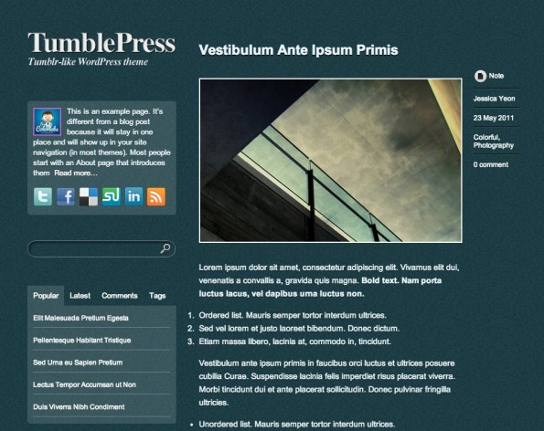 Responsive WordPress-Theme: TumblePress.