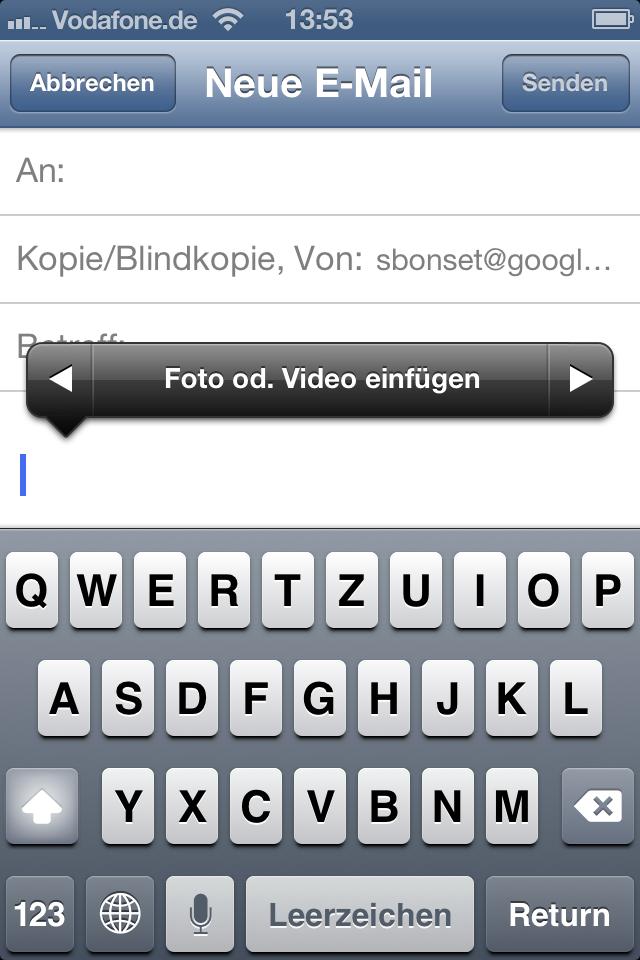 Mehr als überfällig: iOS 6 erlaubt jetzt auch das Anhängen von Bildern und Videos direkt aus der Mail-App.