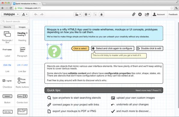 Screenshot der Benutzeroberfläche von moqups