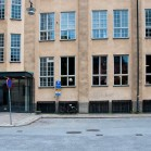 Mojang Office Häuserfront