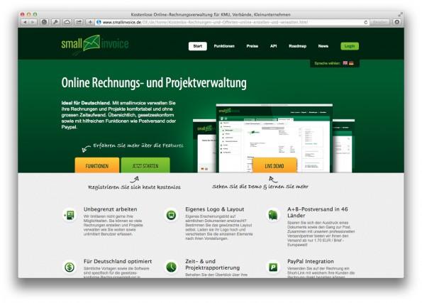 Ein weiterer Anbieter auf dem Markt: Smallinvoice. (Screenshot: smallinvoice.de)