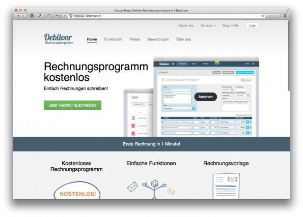 Online-Rechnung per Debitoor: Günstig aber gut. (Screenshot: debitoor.de)