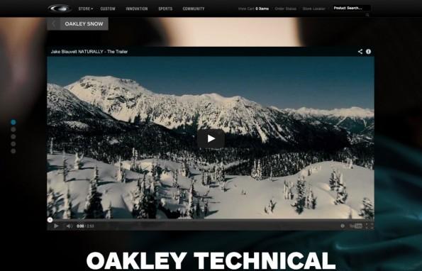 """Oakley präsentiert sich mittels Parallax Scrolling als Liebhaber des """"Champagne Powder""""."""