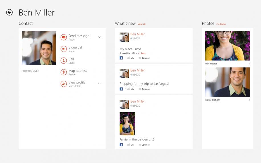 Skype für Windows 8 wird direkt in die Kontakte-App integriert