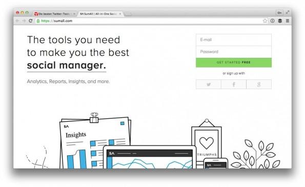 Zu den ausgefeilteren Twitter-Tools zählt unter anderem SumAll. (Screenshot: sumall.com)