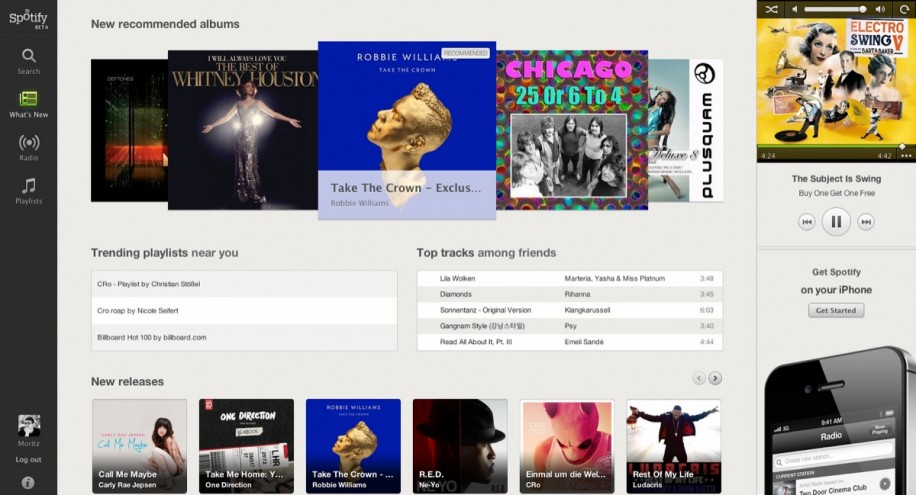 Spotify ab jetzt auch im Browser verfügbar, zumindest in einer Beta-Version.