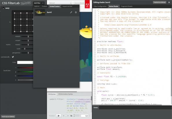 Adobe CSS FilterLab Filter Editor