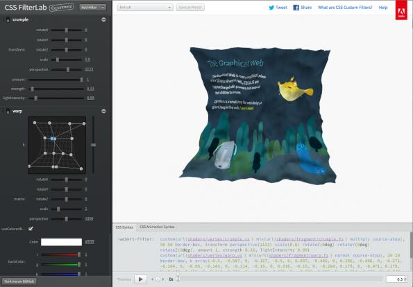 Screenshot: CSS FilterLab Effekte