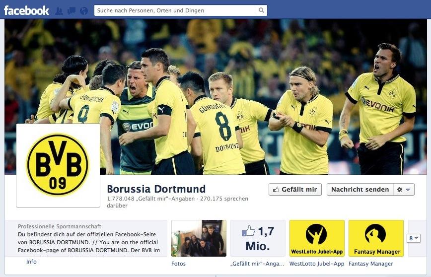 Der BVB führt die Facebook-Trends 2012 bei den häufigsten Erwähnungen an.