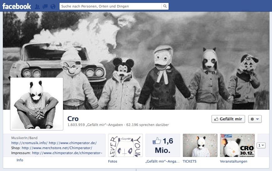 Der Panda-Masken-Mann Cro lag 2012 gleich mit zwei Titel vorne.