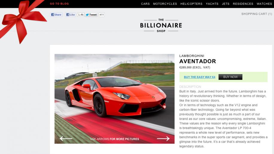 The Billionaire Shop: Im Online-Shop für Milliardäre den neuen Schlitten einfach online bestellen.