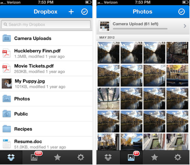 Dropbox: In der neue iOS-Version werden automatisch hochgeladene Fotos chronologisch geordnet.