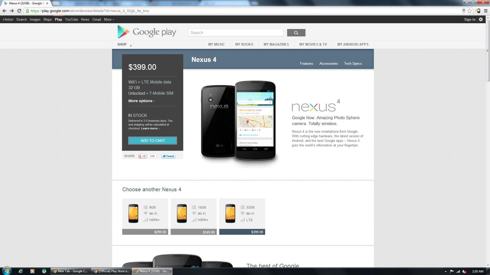 nexus 4 mit 32gb und lte zeigt sich kurzzeitig auf google play update t3n. Black Bedroom Furniture Sets. Home Design Ideas