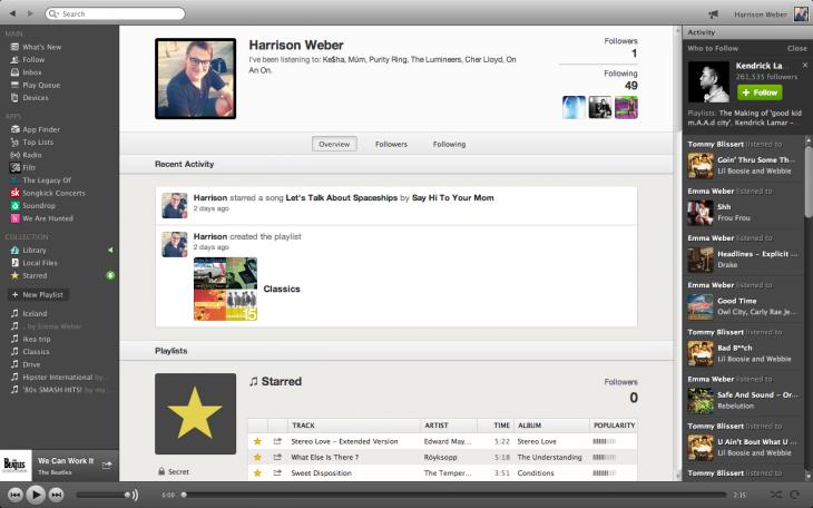 Spotify-Profile mit Timeline