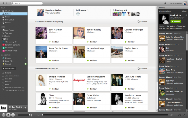 Neuer Follow-Tab im Spotify-Client