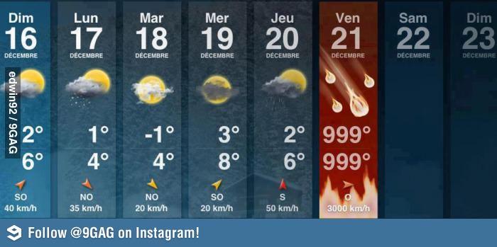 Der Weltuntergang steht kurz bevor: Die Wettervorhersage spricht eine deutliche Sprache.