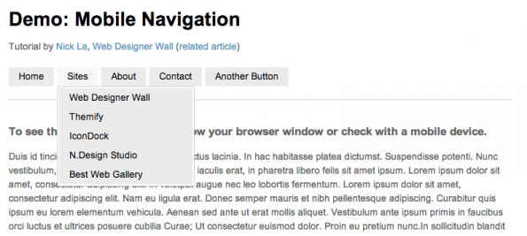 Mobile Navigation inkl. Dropdown Menü
