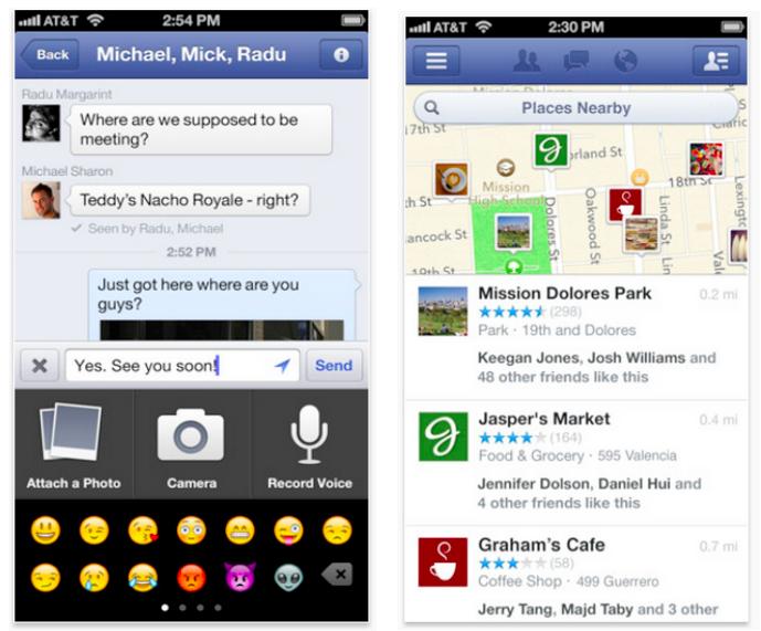 Facebooks neue iOS-Version 5.4: Sprachnachrichten verschicken, Videos aufnehmen, Orte teilen
