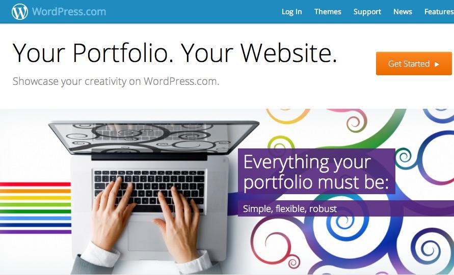 Mit dieser neuen Landingpage macht WordPress.com auf die neuen Themes für Kreative aufmerksam.