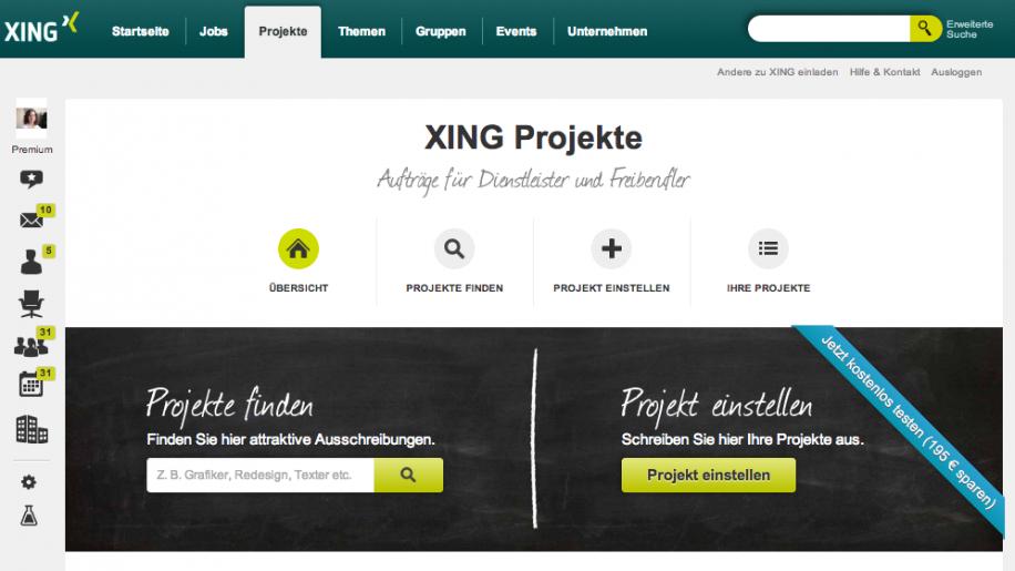 """""""Xing Projekte"""": Auftraggeber finden Freiberufler und umgekehrt"""