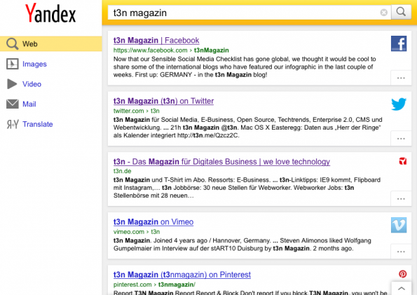 Yandex Screenshot t3n