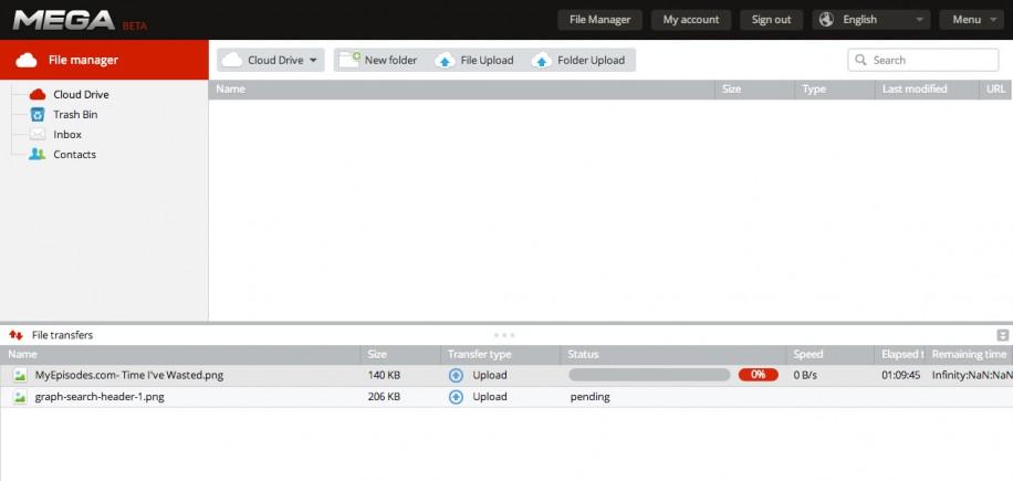 Überlastet: Selbst beim Upload kleiner Dateien sind die Mega-Server momentan überlastet.