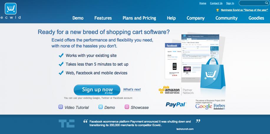 Ecwid: In wenigen Minuten einen Shop in die eigene Website, den Blog oder die Facebook Page integrieren.