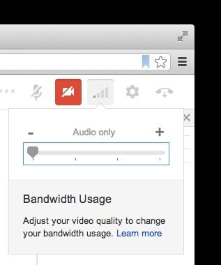Google+ Hangouts: Audio only und Bandbreite-Regler