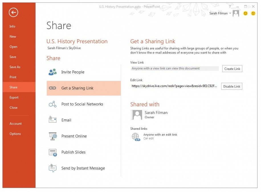 SkyDrive: Über den Sharing-Link können Empfänger nun leicht an Dokumenten mitarbeiten - ohne vorherige Anmeldung.