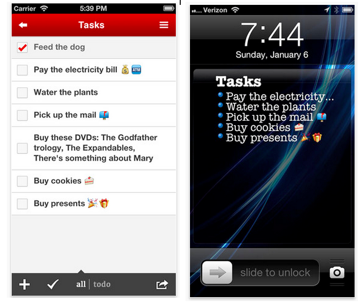 Task Paper: Einzelne Listen werden zum Lockscreen-Hintergrund und lassen sich beliebig austauschen.