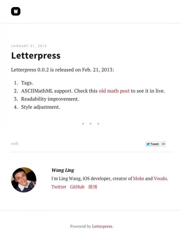Letterpress ist ein kleines CMS-System auf Dateibasis. Serverseitig kommt Python zum Einsatz. (Screenshot: wangling.me)