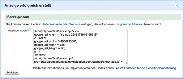 Screenshot eine Google AdSense Code