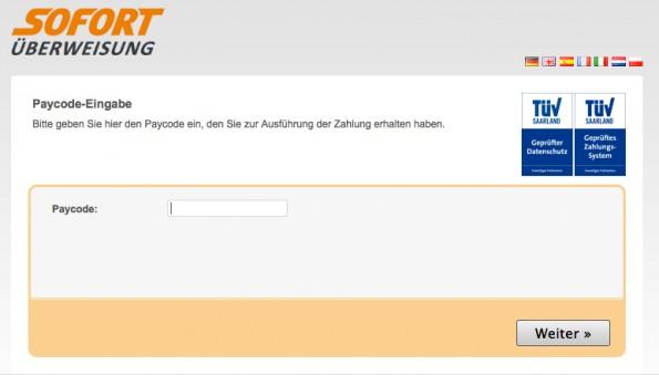 sofort com paycode