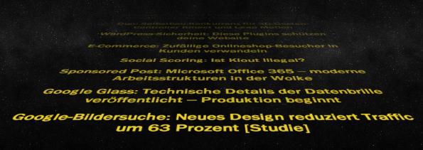 RSS-Feed im Star Wars-Stil anzeigen lassen