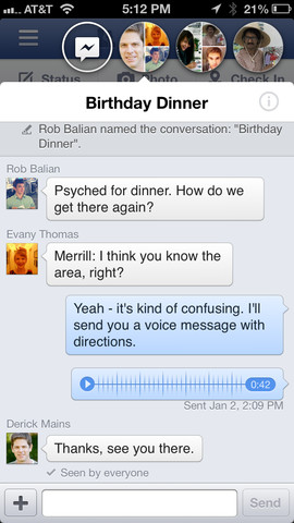 Facebook 6.0 - Chatheads sind nur innerhalb der iOS-App nutzbar.