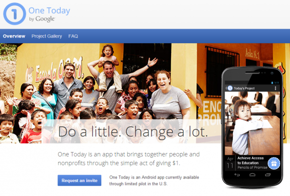 "Googles Spenden-Applikation ""One Today"""