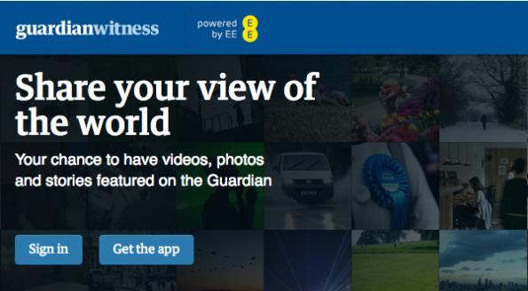 Das Bürgerjournalismus-Projekt Guardian Witness ruft seine Leser auf, deren Journalisten mit Videos, Fotos und Stories zu unterstützen.