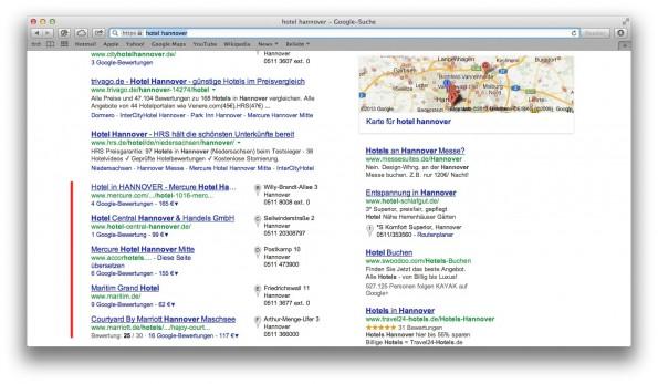 """Local SEO betrifft ausschließlich eingeblendete Unternehmenseinträge, hier zum Suchbegriff """"Hotel Hannover""""."""