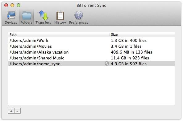 Über die Software zu BitTorrent Sync wählt man die Ordner aus und legt die Zugangsschlüssel fest.